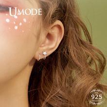 UMODE Korean Fashion 925 Sterling Silver Earrings for Women Silver Star Hoop Earrings Open Twist Pendientes Fine Jewelry LE0469