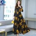 2021 Летние черные принт Макси платье Новое поступление высокое качество размера плюс S-4XL с цветочным узором и длинными рукавами для девочек ...
