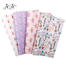 JOJO BOWS 22*30cm 1pc Faux Synthetic Leather Fabric For Needlework Unicorn Printed Sheet DIY Hair Bows Apparel Sewing Home Decor jojo bows 22 30cm 1pc synthetic leather fabric for crafts mermaid printed faux sheet for needlework bag apparel sewing materials