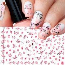 1 pièces Sakura Nail Art Cerisier 3D Rose Fleur Stickers pour les Ongles Conception Mignonne Simple Adhésif Manucure Autocollants GLF091-F669
