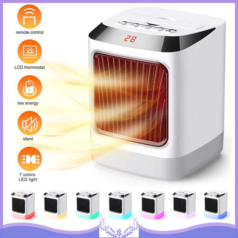 Mini Electic Heating Fans Multifunctional Cooling Heating Fan Colorful Night Lights Ceramics Heating Fans Air Cooler Heater