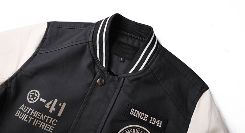 Fashion Men Pu Leather Jackets Block Color Faux Leather Badge Jackets Coats For Male Stand Collar (6)
