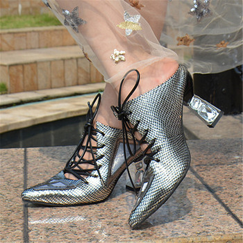 Gladiator Women Sandals High Heels Genuine Leather Slippers Pointed Toe Lace Up Ladies Pumps Shoes Woman Stiletto