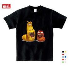 Мультфильм личинка Печати Детей Забавные футболки в Корейском