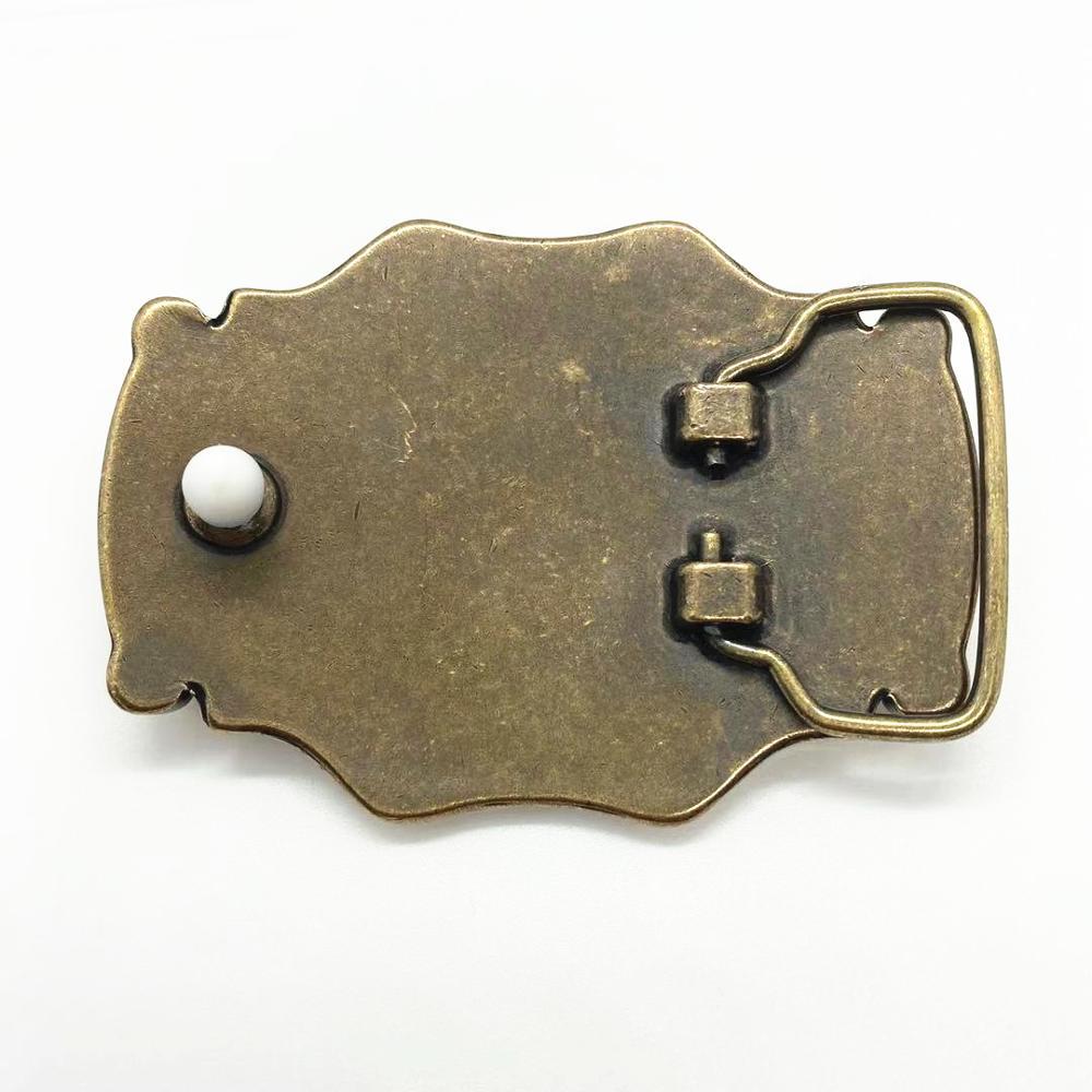 Vintage Pure Brass Western Cowboy Antique Mens Belt Buckle Middle Big Real Jade