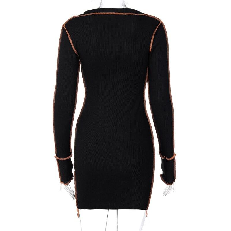 Hc1b05c472c5b4578a2ae434937ff345ea - Hugcitar 2020 Long Sleeve Patchwork Sexy Mini Dress Autumn Winter Women Fashion Streetwear Outfits Clit Club Y2K Clothing