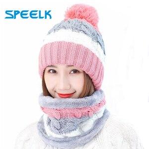 Image 1 - Neue Winter frauen Samt Wolle Hüte Twist farbe passenden Mützen Skullies Hut Weibliche Reiten Bib Gestrickte Hüte Sets Großhandel