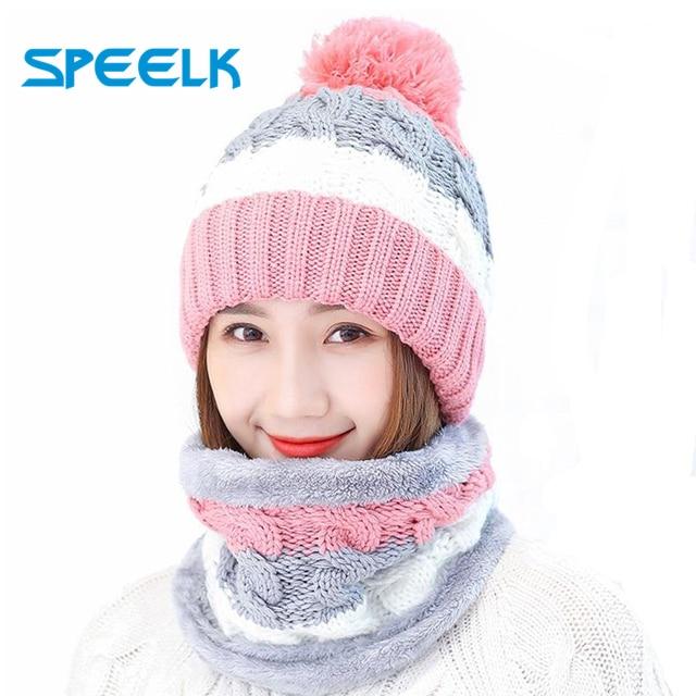 Neue Winter frauen Samt Wolle Hüte Twist farbe passenden Mützen Skullies Hut Weibliche Reiten Bib Gestrickte Hüte Sets Großhandel