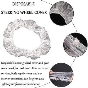 Image 5 - أغطية مقاعد السيارة البلاستيكية الناعمة التي يمكن التخلص منها ، مجموعة من 50 أو 100 أغطية مقاومة للماء لأغطية عجلات القيادة التي يمكن التخلص منها