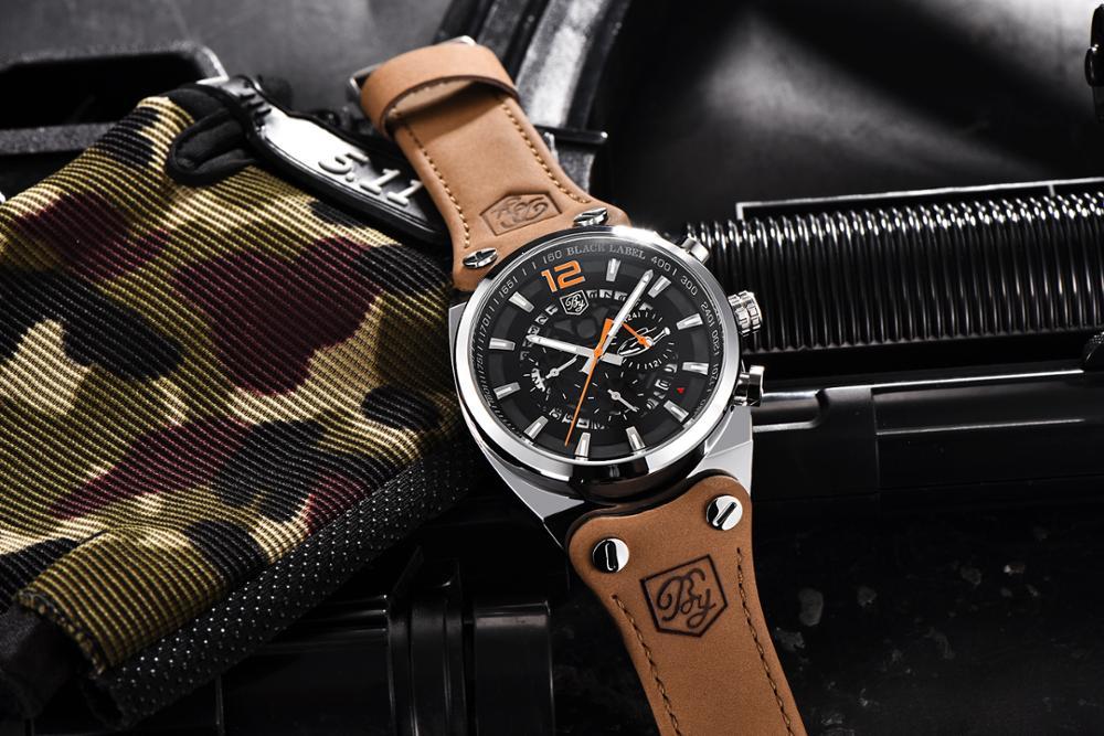 BENYAR Big Dial Sport Watch Men Waterproof Outdoor Military Chronograph Quartz Leather Watch Army Male Clock Relogio Masculino 6