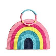 ハンドヘルド俵女性 2020 新ファッションカラフルな虹手不織布バッグファッションビーチバッグ