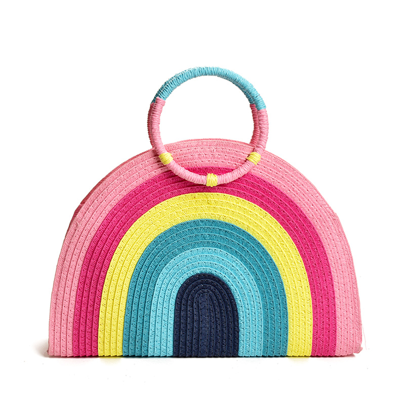Handheld Straw Bag Women 2020 New Fashion Colorful Rainbow Hand-woven Bag Fashion Beach Bag