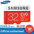 Original samsung micro cartão sd 32 gb class10 16 gb cartão de memória microsd 64 gb evo + evo mais 256 gb 128 gb tf cartão de memória