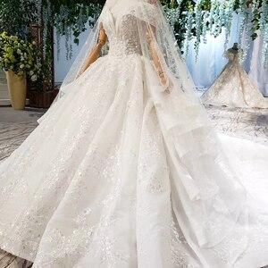 Image 3 - HTL822 מתוקה חתונת שמלות ארוכה רכבת אפליקציות תחרה כלה שמלות כדור שמלה עם צעיף vestidos דה novia 11.11 קידום