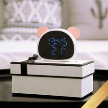 Cute LED Panda Shape Digital Mirror Alarm Clock USB LED Display Snooze Function Temperature Display Sounds Control Alarm Clock(China)