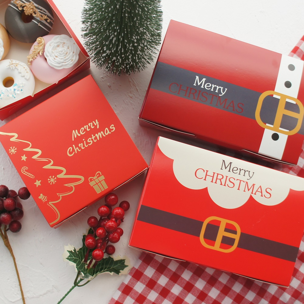 10pcs Gold Merry Christmas Tree Red Paper Box Cookie Macaron Candy Handmade Party Gifts Candle Jar Doughnut Packaging