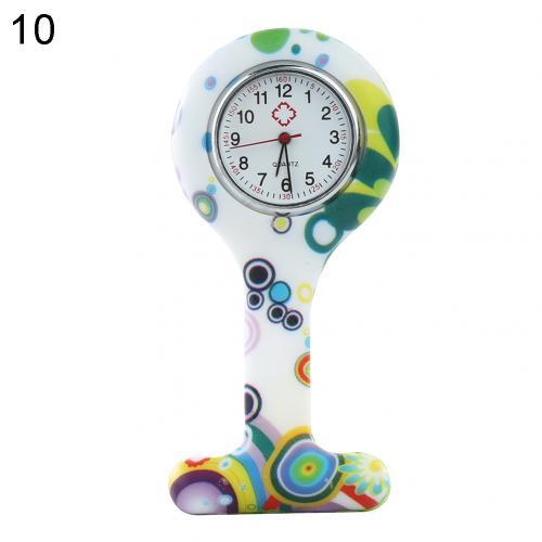 Портативный Зебра арабские печатные цифры Круглый циферблат силикон Медсестра часы Брошь Туника кармашек для часов Часы - Цвет: 10
