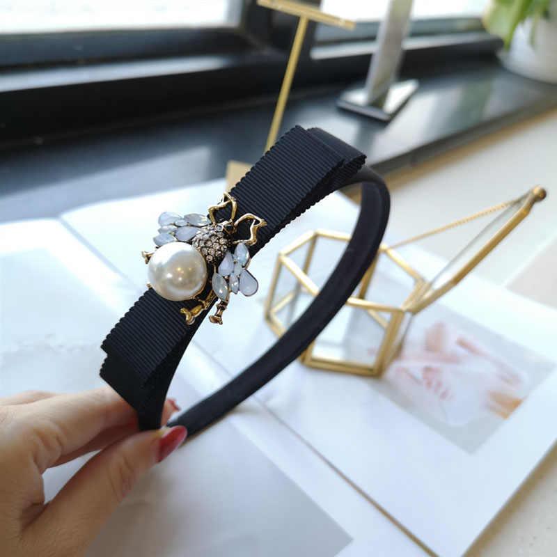 Neue Korea Bee Schwarz Stoff Haarband Frauen Legierung Strass Perle Vintage Haar Zubehör Bogen Luxus Dame Stirnband Kopfschmuck