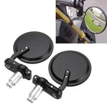 Rétroviseurs latéraux pliables de moto universels, bout de la barre de poignée, 7/8 pouces, pour Suzuki, Kawasaki, Honda, Harley, vélos personnalisés