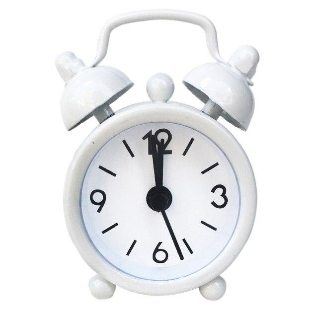 New Mini Alarm Clock Electronic Round Number Double Bell Desk Table Digital Quartz Clock Home Decoration Retro Portable Adapdesk 3