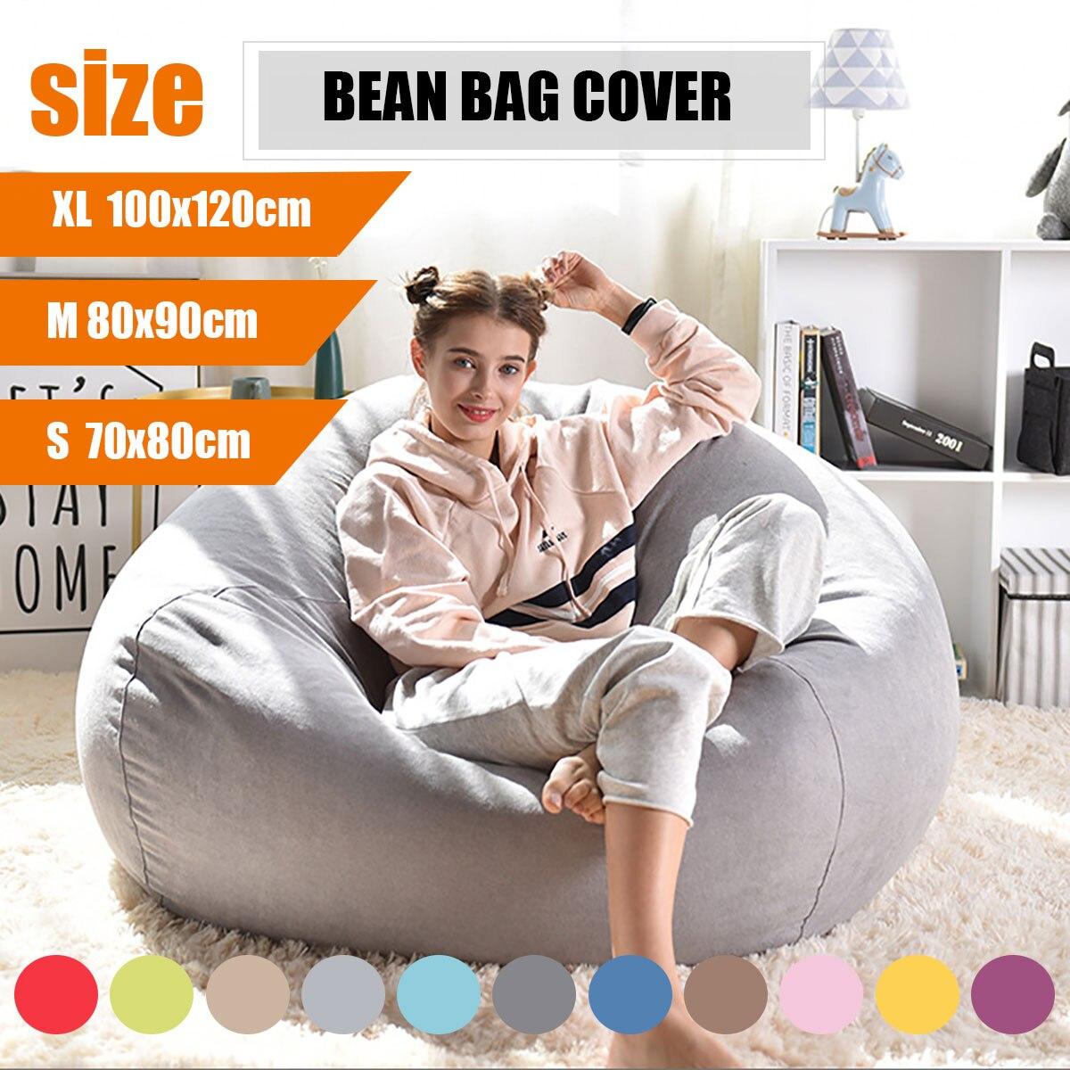 ขี้เกียจ BeanBag โซฟาฝาครอบเก้าอี้ไม่มี FILLER ผ้าลินินผ้า Lounger ที่นั่ง Bean BAG พัฟ asiento โซฟา Tatami ห้องรับแขกเฟอ...