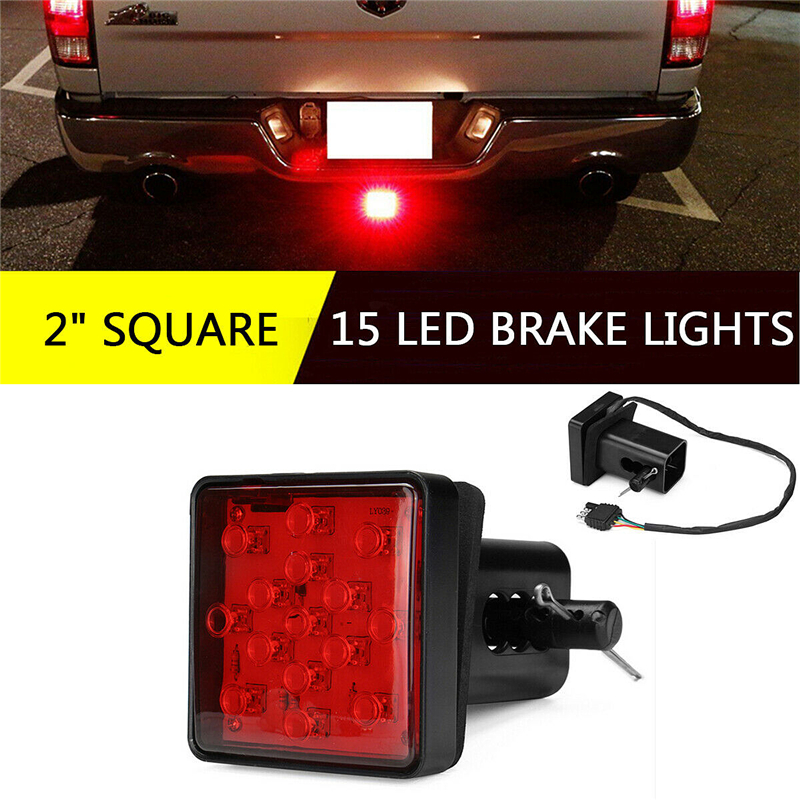 1Pcs 12LED/15LED Truck Hitch Light Trailer Rear Brake Light Stop Tail Singal Lamp With Black Red 2 Inch Square Standard Receiver