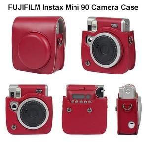 Image 1 - FUJIFILM Instax מיני 90 ניאו קלאסי מצלמה מקרה עור מפוצל כתף רצועת מצלמה תיק קריסטל PVC מגן לשאת כיסוי