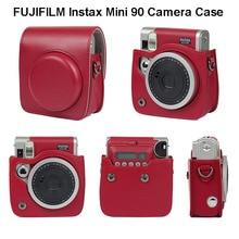 FUJIFILM Instax Mini 90 Neo klasyczny futerał na aparat PU skórzany pasek na ramię torba na aparat Crystal PVC ochronna osłona