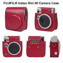 후지 필름 instax 미니 90 네오 클래식 카메라 케이스 pu 가죽 어깨 스트랩 카메라 가방 크리스탈 pvc 보호 캐리 커버