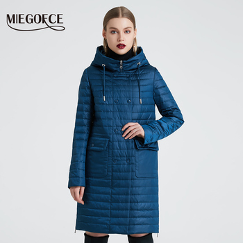 MIEGOFCE 2020 New Collection Women's Spring Jacket Stylish Coat with Hood and Patch Pockets Double Protection from Wind Trench