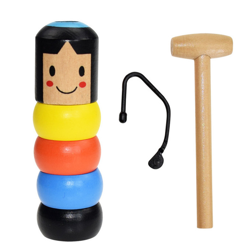 Free Shipping Unbreakable Wooden Man Magic Toy Immortal Daruma Magic Tricks Close Up Stage Magic Props Fun Toy Accessory
