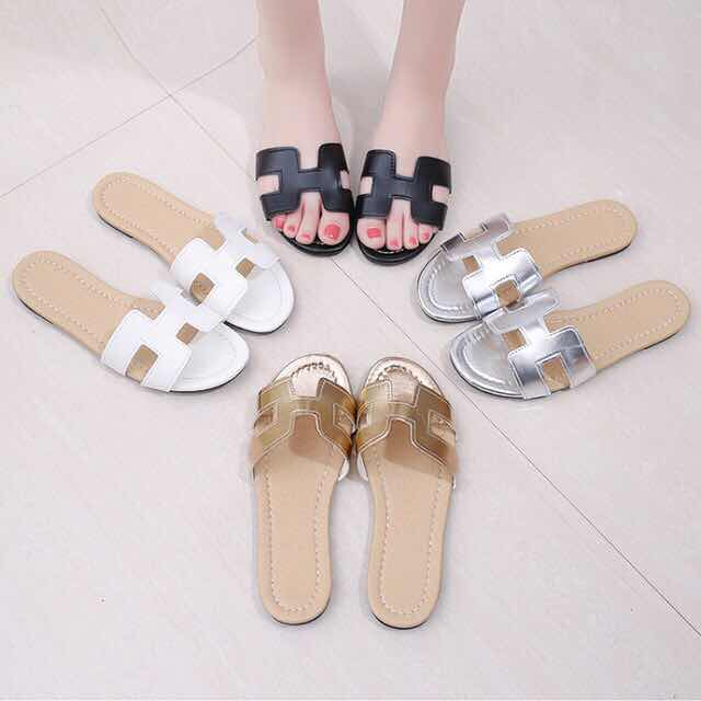 Leondgin Slippers Female Beach-Shoes Fashion-Wear Flat-Bottom Casual-H-Type Korean-Version