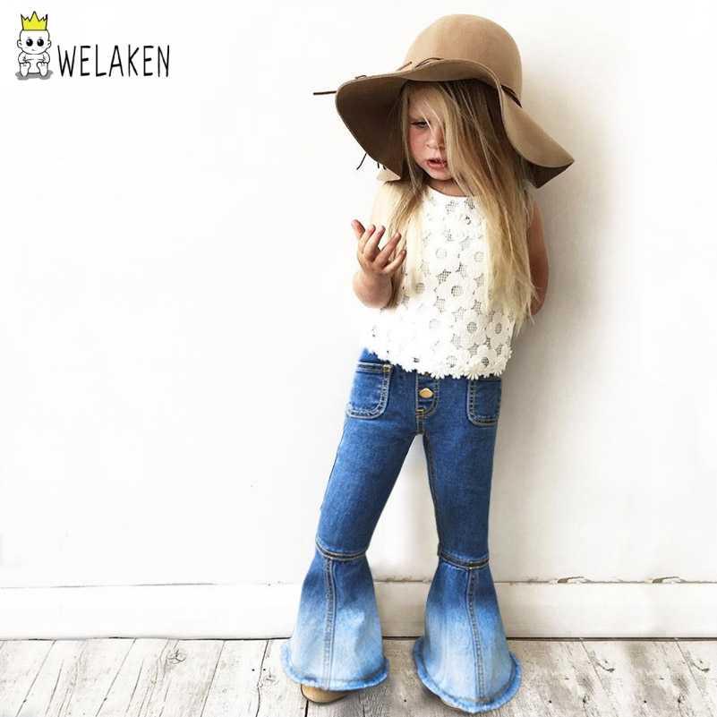 WeLaken yeni bebek kız giysileri çocuklar Vintage kot kızlar kot Bell dipleri kot çocuk pantolon sonbahar bebek kız kot bebek