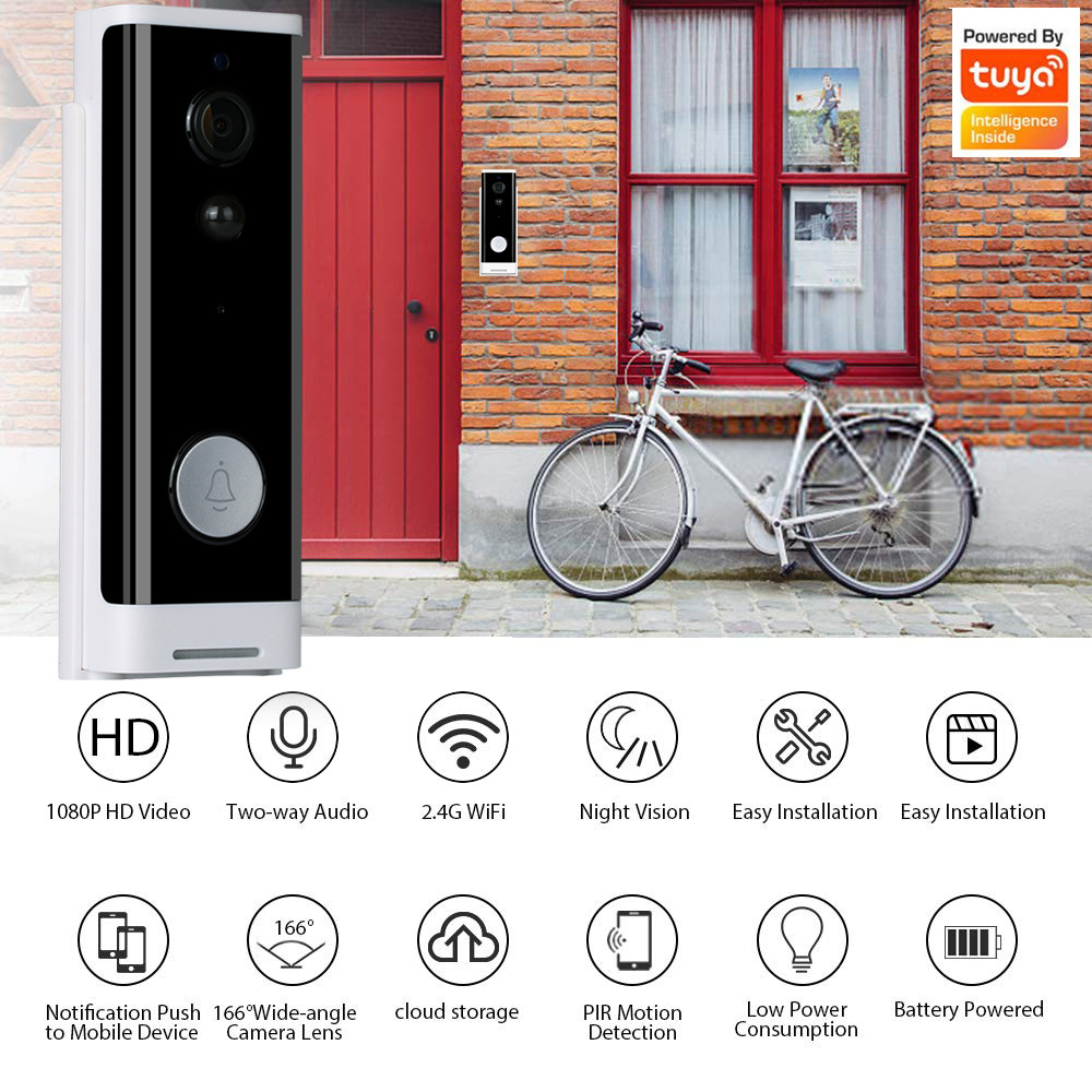 Tuya WIFI Smart Video Doorbell Home Monitor1080P Two Way AudioIR Alarm Wireless Security Camera for Smart Home