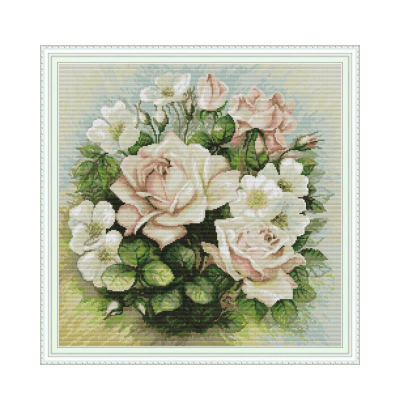 Розовый Крест с цветами розы набор стежков aida 14ct 11ct Печать холст крест стежки Рукоделие Вышивка Сделай Сам ручная работа|Упаковка|   | АлиЭкспресс