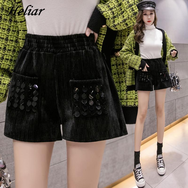 HELIAR Women Woolen Sequined Shorts Women Black Shinning Short With Pockets Wide Leg 2020 Summer Shorts For Women Shorts