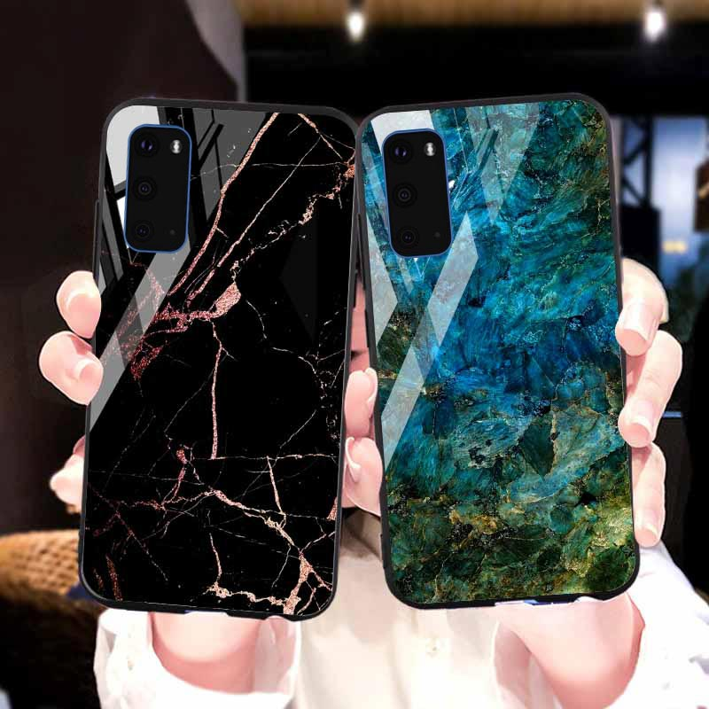 Marble Tempered <font><b>Glass</b></font> <font><b>Case</b></font> For <font><b>Samsung</b></font> <font><b>Galaxy</b></font> Note 10 8 S10 S8 S9 Plus 5G S10e S20 Ultra M30s M30 <font><b>M20</b></font> M10 J4 J6 J8 J7 2017 Cover image