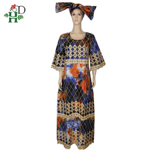 H&D african print dashiki dresses embroidery long dress clothes traditional maxi south africa lady headtie