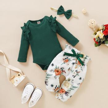 3PCS Newborn Baby Girls Clothes Long Sleeve Romper Set Flower Pants+Bow Headband+Bodysuit Spring Autumn Casual Floral Outfit