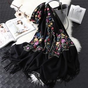 Image 3 - 2020 Designer Merk Vrouwen Sjaal Winter Kasjmier Sjaals Lady Sjaals En Wraps Vrouwelijke Deken Pashmina Borduren Sjaals