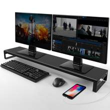 Aluminum Dual Monitor Stand Holder Metal Riser with USB 3.0 Hub Ports Support Transfer Data,Keyboard and Mouse Storage Desk