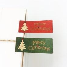 Pegatina de sello de colores rojo, verde, Navidad, Feliz Navidad, regalo de árbol, pegatina de álbum de recortes para Navidad, 100 unids/lote