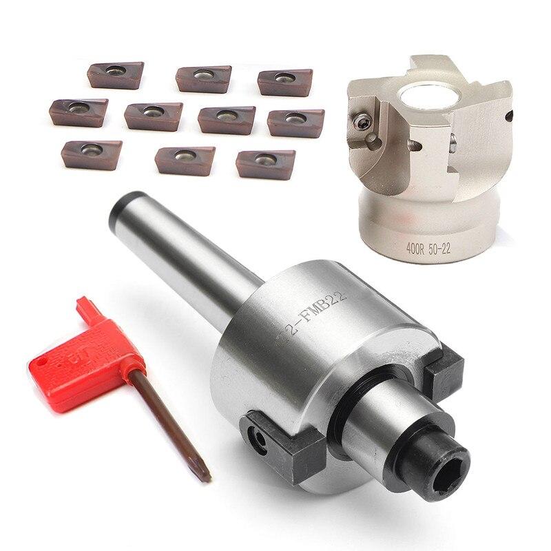 MT2 M10 & 50mm Gesicht Ende Mühle Cutter + 10 stücke APMT1604 Hartmetall Einfügen Schlüssel CNC-in Fräser aus Werkzeug bei title=