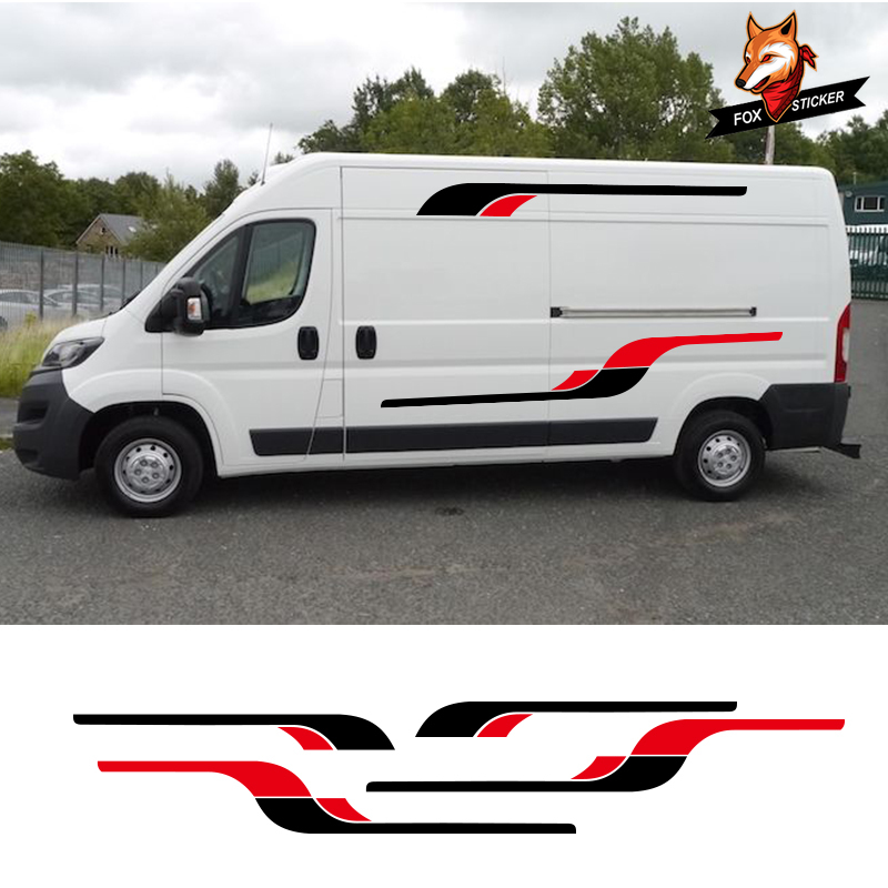 2 Sides <font><b>Motorhome</b></font> Vinyl Graphics <font><b>Stickers</b></font> <font><b>Decals</b></font> Stripes Camper Van Gloss Auto Side Car <font><b>Sticker</b></font> For Peugeot BOXER Set image