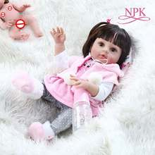48CM popular very soft flexible full body silicone doll reborn baby girl in pink dress sweet face cuddly
