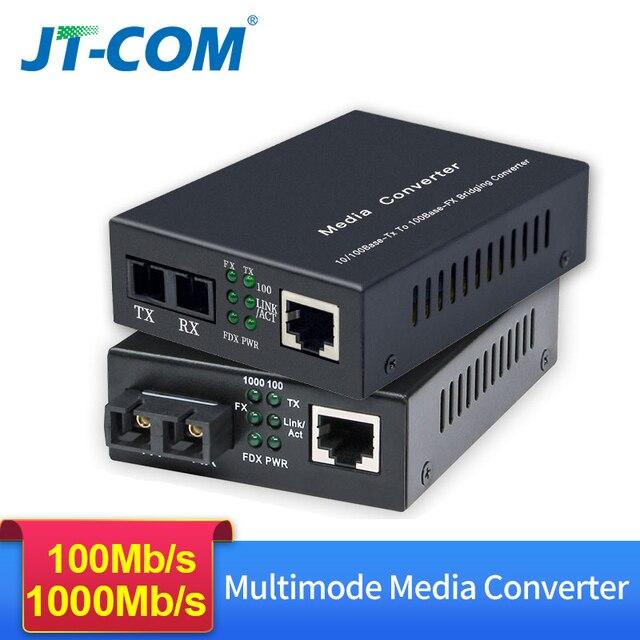 Gigabit Ethernet Fiber Media Converter Met Een Ingebouwde 1Gb Multimode Sc Transceiver, 10/100/1000M RJ45 Om 1000Base LX, Tot 2Km