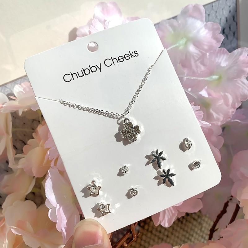 Модные корейские серьги-гвоздики, имитация жемчуга, пентаграмма, олень, рыбий хвост, крест, снежинка, сердце, серьги, колье, женские подарки, ювелирные изделия - Окраска металла: ED007302