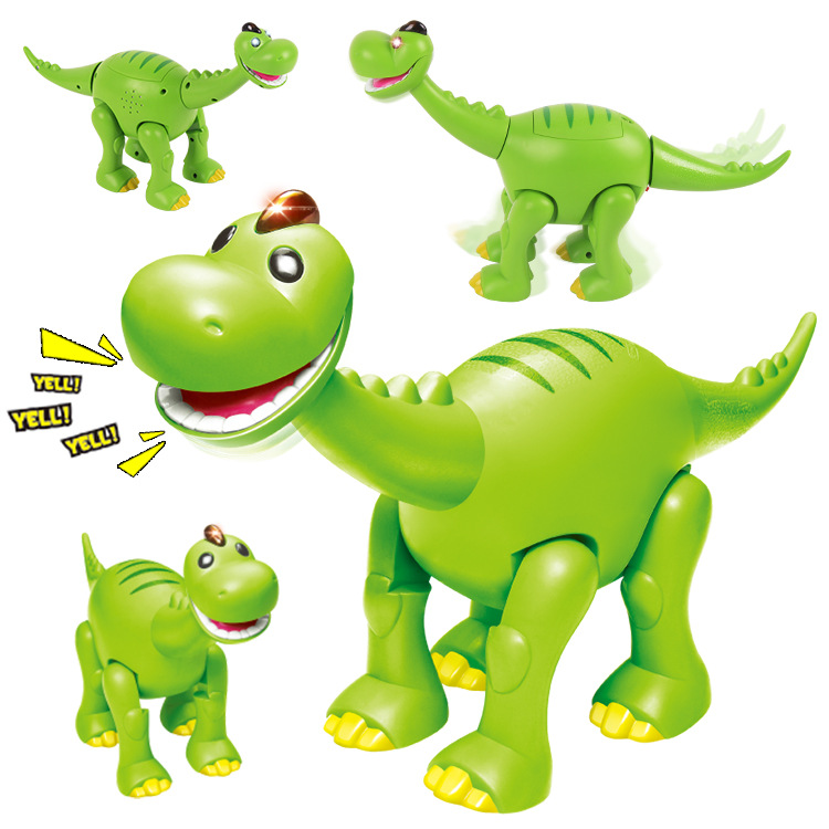 Cartoon Brachiosaurus Electric Dinosaur Toy Light Sound Making Open-mouth Dinosaur Children'S Educational Toy Automatic Walking