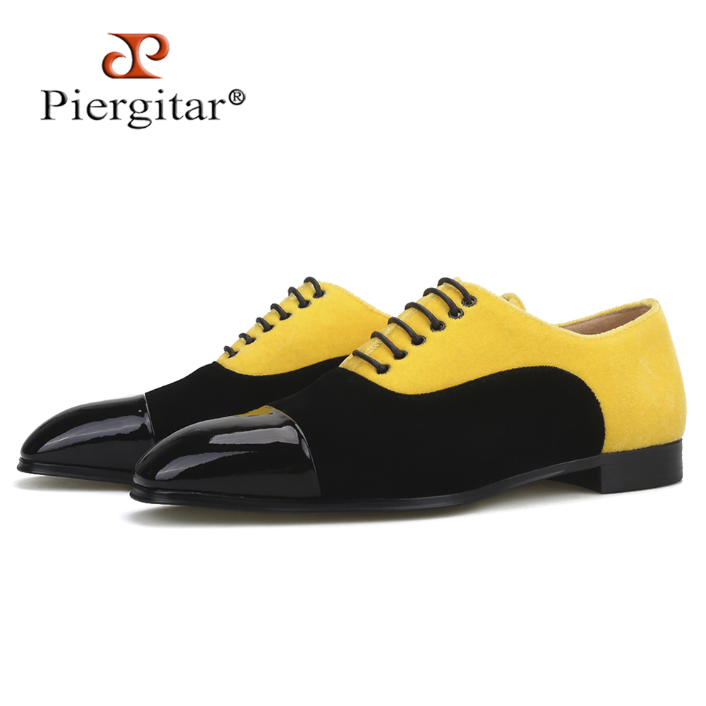 Piergitar new arrival gold and black colors velvet mixed men's dress shoes handcraft men loafers for party and wedding plus size
