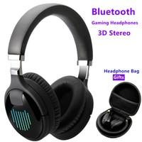 Auriculares inalámbricos con Bluetooth para videojuegos, cascos con sonido estéreo 3D, reducción de ruido y música, con micrófono, FM, TF, funda de regalo